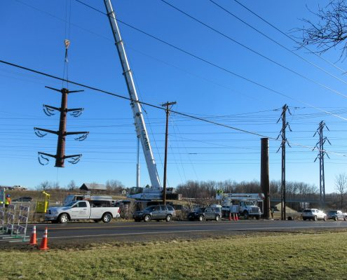 Installation of single-pole transmission systems